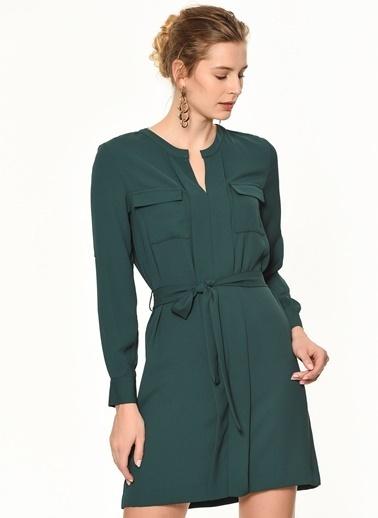 Random Çift Cepli Beli Bağlama Detaylı Elbise Yeşil